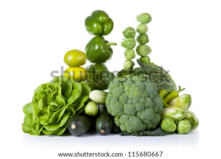 Fresh green vegetables isolated on white background - stock photo