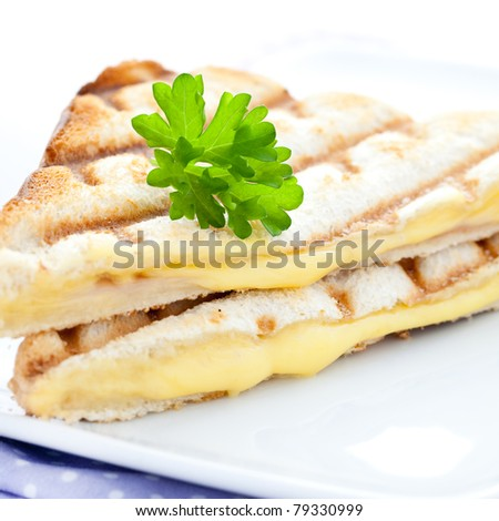 fresh grilled cheese sandwich - stock photo