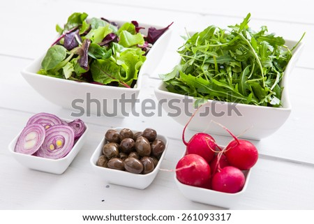 Fresh groceries for salad - stock photo