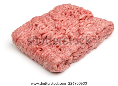 Fresh ground lamb meat or mince on white background. - stock photo