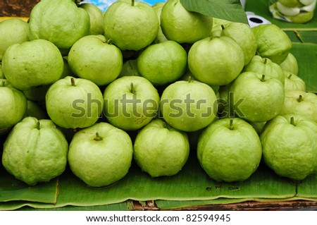 fresh guava fruit at the market - stock photo