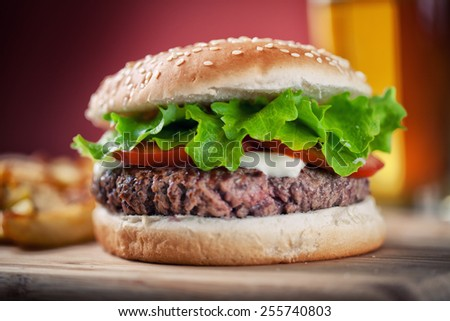 Fresh Hamburger With Beer - stock photo