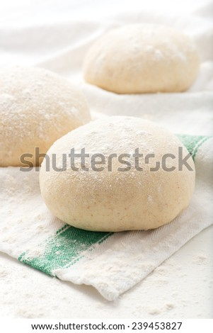 fresh, handmade pizza or bread dough balls on a kitchen cloth - stock photo