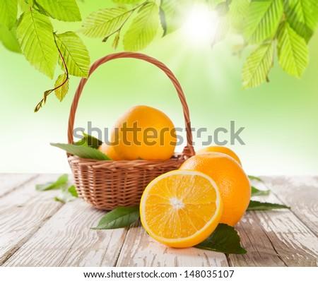 Fresh harvested oranges in basket - stock photo
