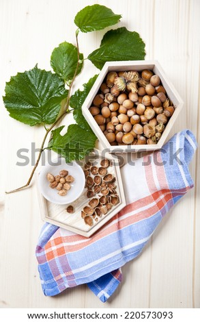 fresh hazelnut with leaves. autumn food. - stock photo