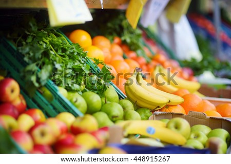 Fresh healthy bio fruits and vegetables on Bremen farmer agricultural market in Germany - stock photo