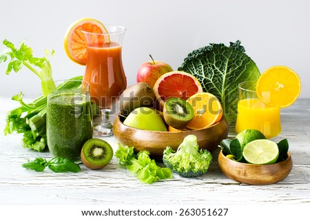 Fresh healthy detox smoothie and juice with fruits and vegetables - stock photo