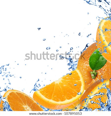 Fresh healthy fruit background with splashing water - stock photo
