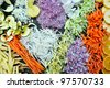 fresh healthy organic food mixed vegetables slice on black background - stock photo