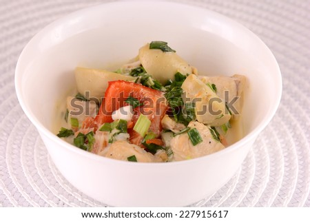 fresh healthy salad on white plate - stock photo