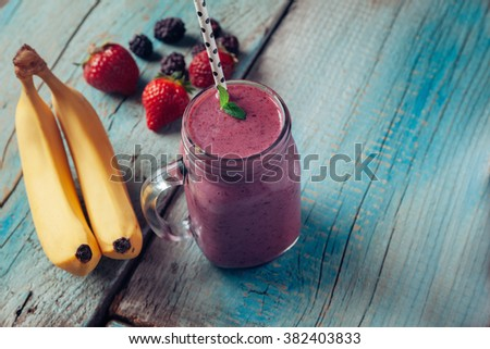 Fresh Healthy Smoothie With The Ingredients Beside - stock photo