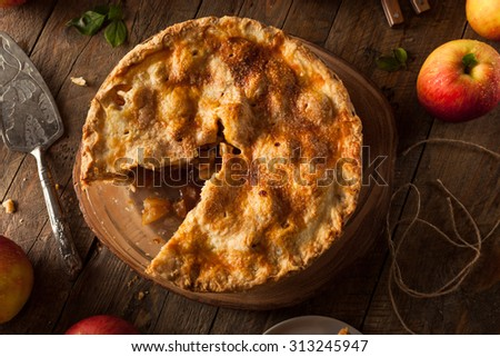 Fresh Homemade Apple Pie with a Flakey Crust - stock photo