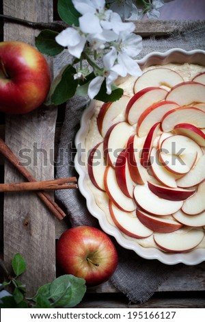 Fresh homemade apple pie with cinnamon and sugar - stock photo
