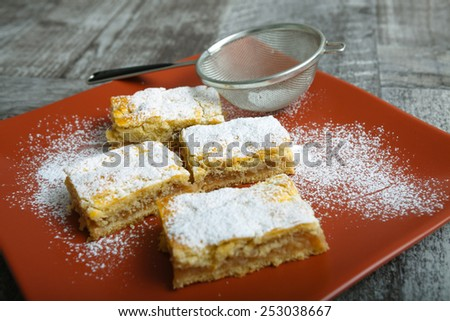 Fresh homemade apple pie with sugar on top - stock photo