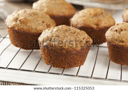 Fresh Homemade Bran Muffins made with Whole Wheat - stock photo