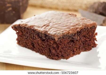 Fresh Homemade Brownie made with gourmet chocolate - stock photo
