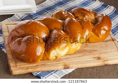 Fresh Homemade Challah Bread for a Jewish Celebration - stock photo