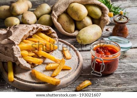 Fresh homemade French fries - stock photo