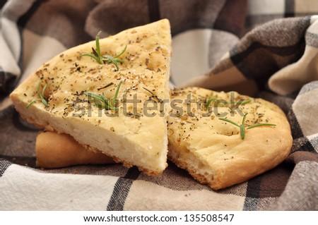 Fresh Homemade Italian Bread with rosemary - stock photo