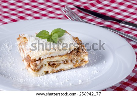 Fresh homemade Lasagne on a plate  - stock photo