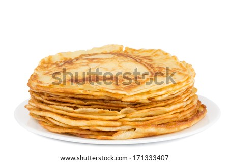 fresh homemade pancakes on a plate isolated on white background - stock photo