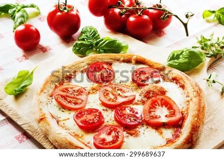 Fresh homemade Pizza Margherita - stock photo