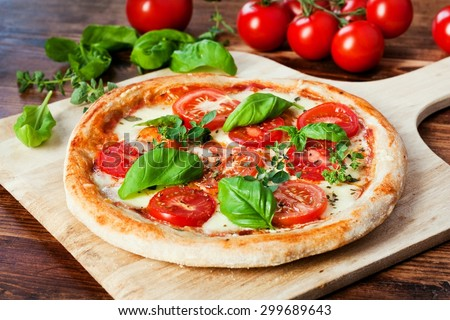 Fresh homemade Pizza Margherita - stock photo