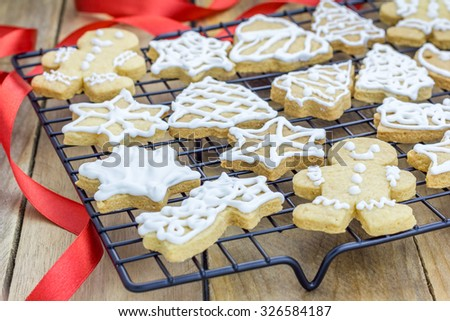 Fresh homemade shortbread cookies on a cooling rack - stock photo
