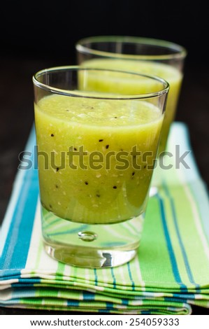 fresh homemade smoothie with kiwi and bananas - stock photo