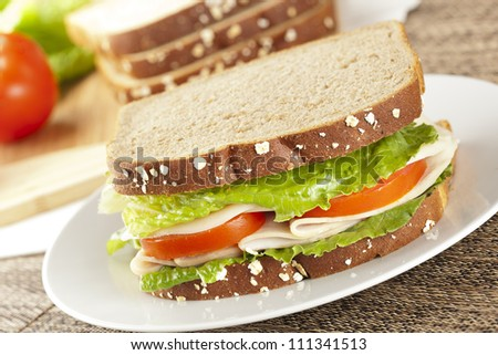 Fresh Homemade Turkey Sandwich made with organic ingredients - stock photo