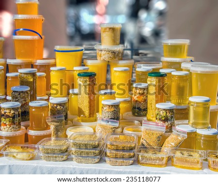 fresh honey and its products - stock photo