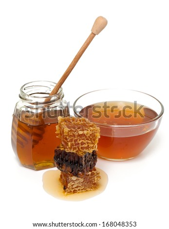 fresh honey over white - stock photo
