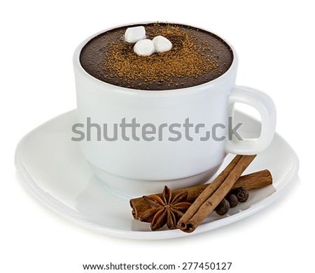 Fresh hot chocolate isolated - stock photo