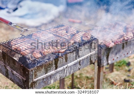 fresh hot grilled shish kebab barbecue on grid over charcoal. - stock photo