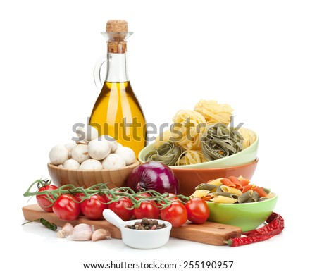 Fresh ingredients for cooking: pasta, tomato, mushroom and spices. Isolated on white background - stock photo