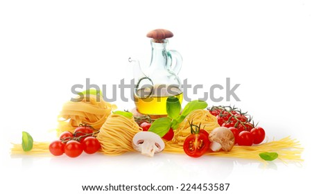 Fresh ingredients for Italian pasta with homemade noodles, cherry tomatoes, basil, olive oil and mushrooms over a white background - stock photo