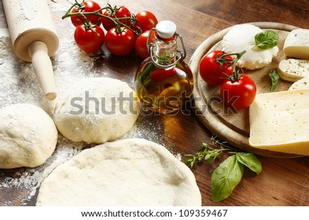 fresh italian pizza dough - stock photo