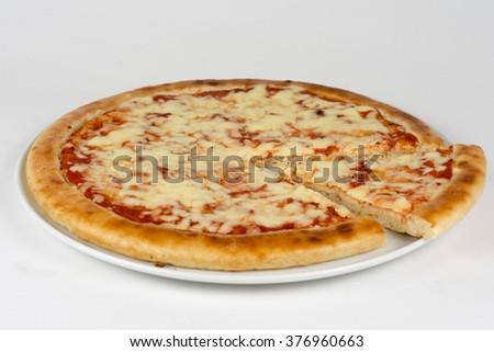 Fresh italian pizza isolated on white - stock photo