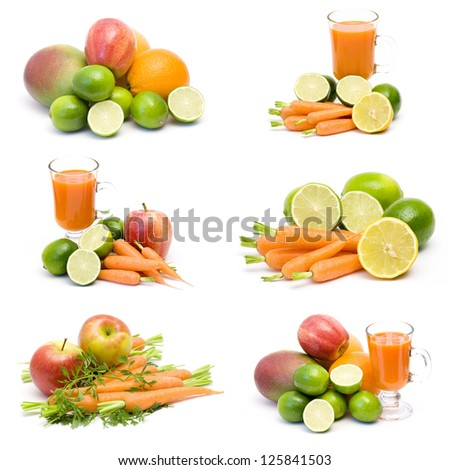 fresh juice, fruits and vegetables - collage - stock photo