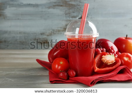 Fresh juice mix fruit and vegetables, healthy drinks on wooden table background - stock photo