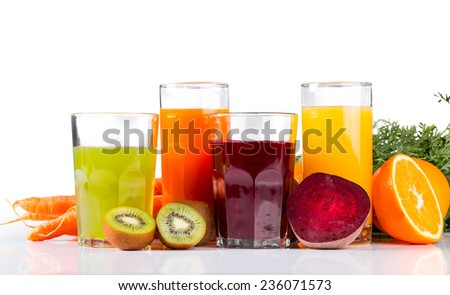 Fresh juice, mix fruits and vegetable isolated o white background - stock photo