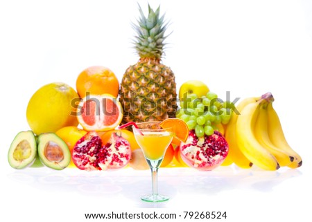 fresh juice of different ripe fruits - stock photo