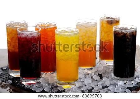 fresh juice on ice - stock photo