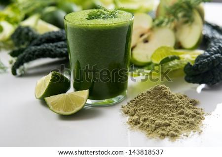 Fresh Juice Smoothie Made with Organic Greens, Spirulina, Protein Powders - stock photo