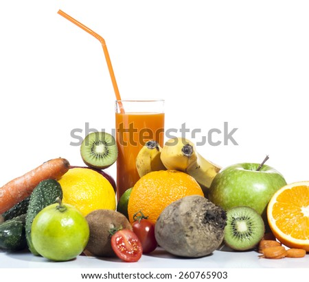 Fresh juice with colorful fruits and vegetables isolated on white background. - stock photo
