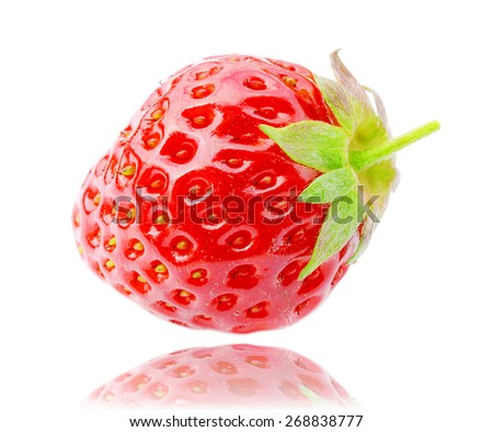 fresh, juicy and healthy strawberries, red on white  - stock photo