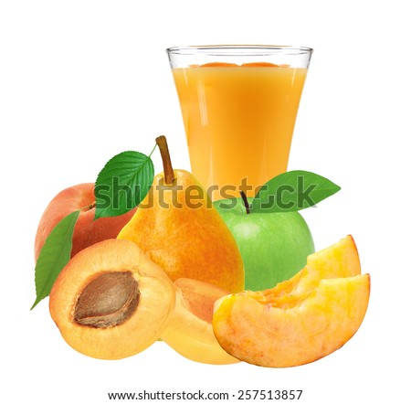 fresh juicy fruits and glass of juice isolated on white - stock photo