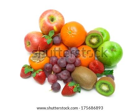 fresh juicy fruits isolated on a white background. top view - horizontal photo. - stock photo