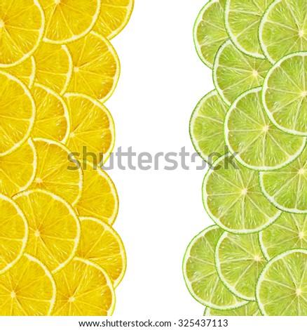 fresh juicy lemon and lime slices on white background - stock photo