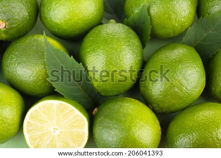 Fresh juicy limes, close up - stock photo